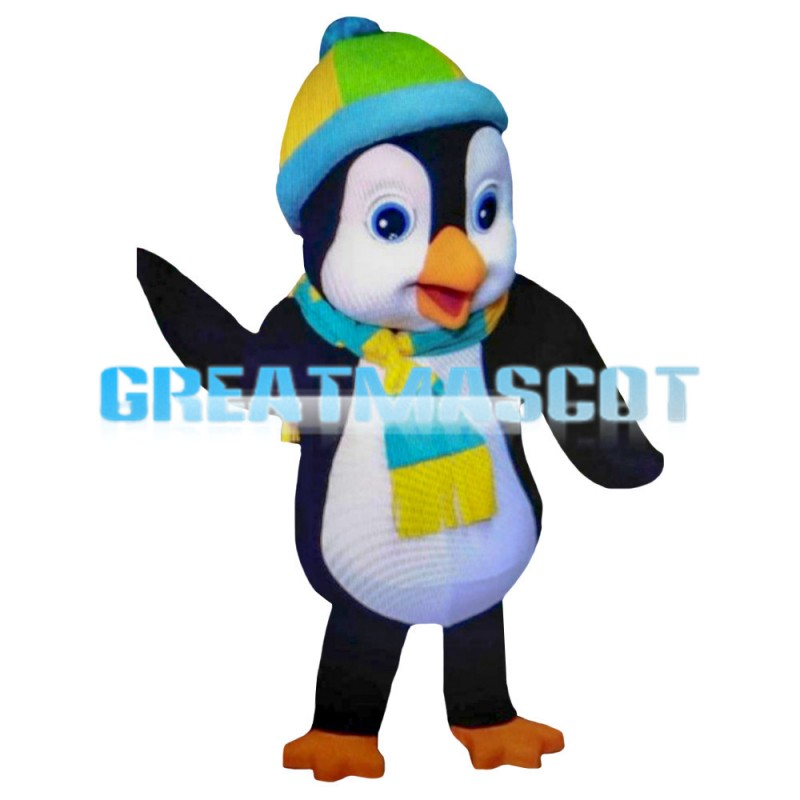 Frightened Penguin With Wool Cap Mascot Costume