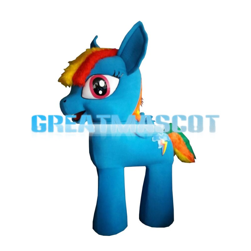 Blue Cartoon Pony With Colorful Tail Mascot Costume