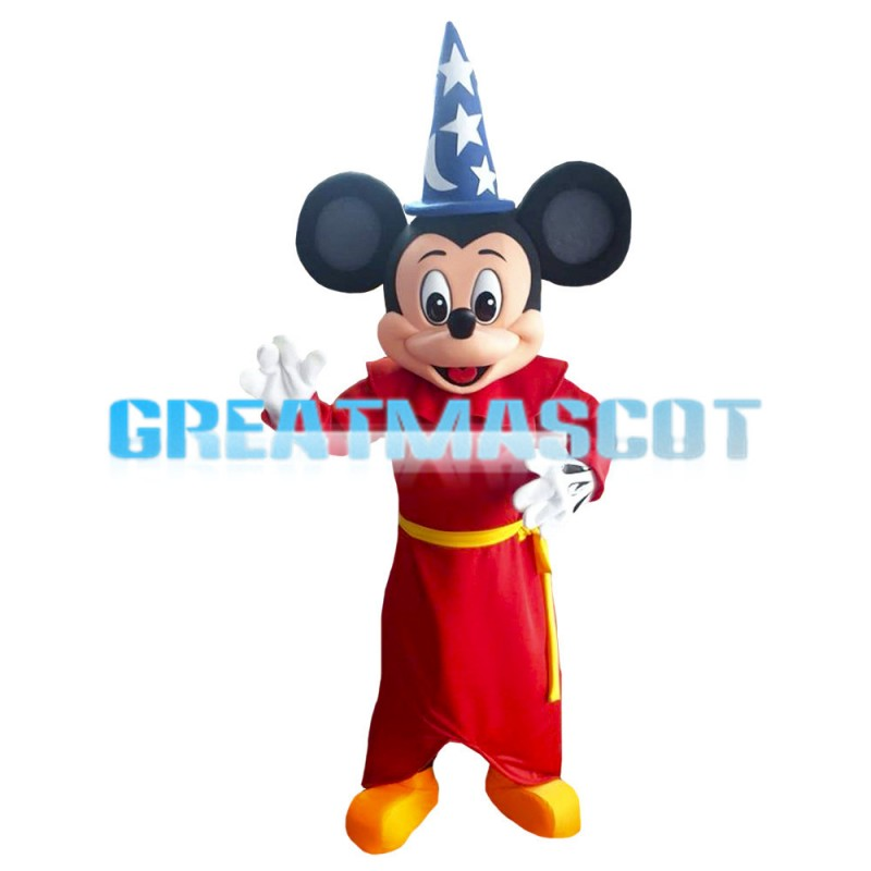 Red Mickey Mouse With Gown Mascot Costume