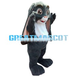 Grey Long Fur Lop Eears Rabbit Mascot Costume