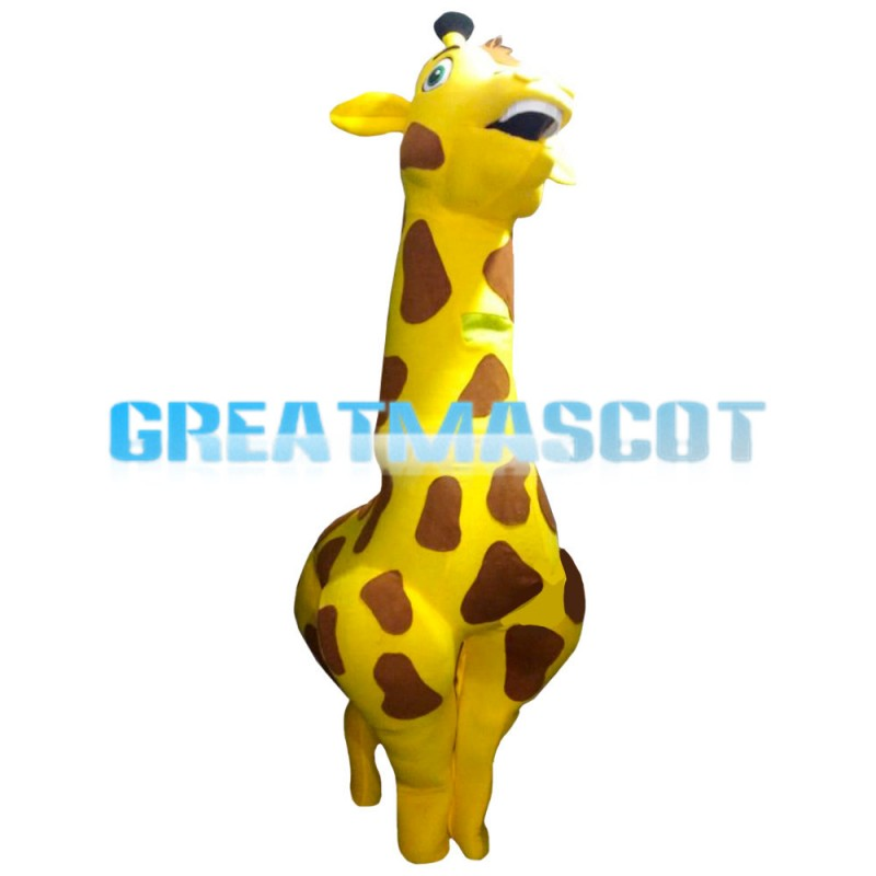 Proud Fat Cartoon Giraffe Mascot Costume