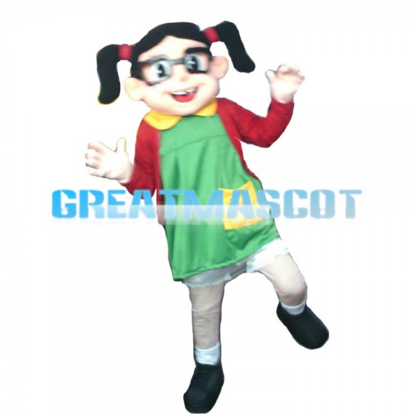 Jumping Up And Down Little Girl Mascot Costume