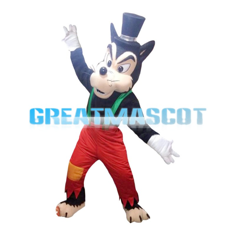 Black Wolf With Red Patch Pants Mascot Costume