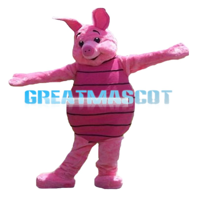 Docile Piglet With Pink Striped Shirt Mascot Costume