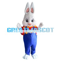 Pointed Ears Rabbit Wearing Blue Overalls Mascot Costume