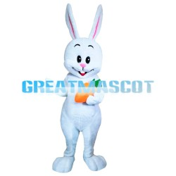 Slim Tall White Rabbit Carrying Carrot Mascot Costume