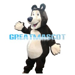 Sturdy Brown & White Bear Mascot Costume