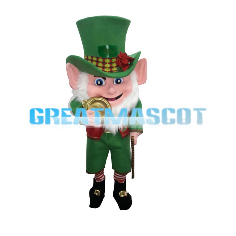 Irish Elf Holding Gold Pocket Watch Mascot Costume