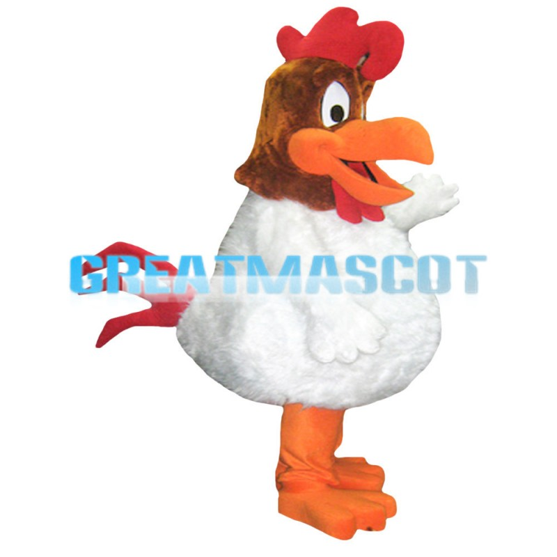 Crowing Fat White Chicken Mascot Costume