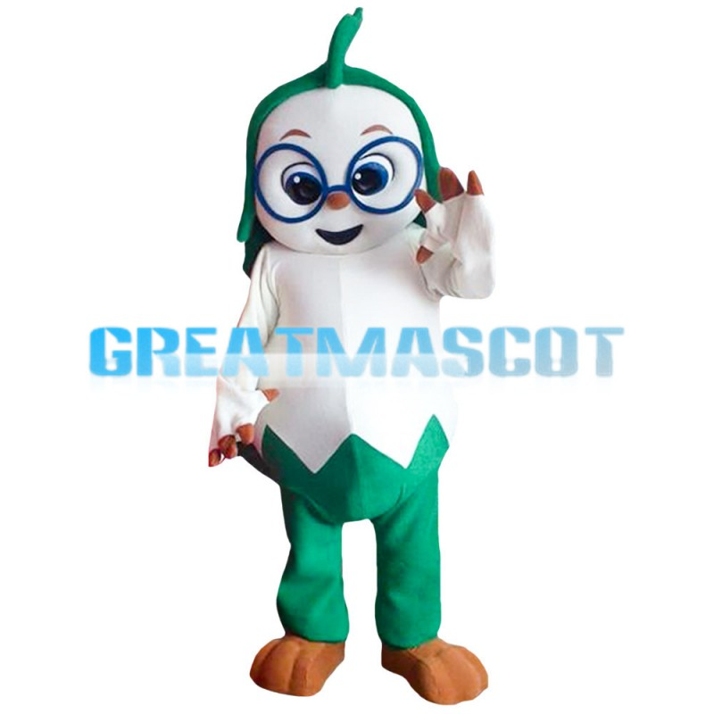 Cartoon Green & White Doll Mascot Costume