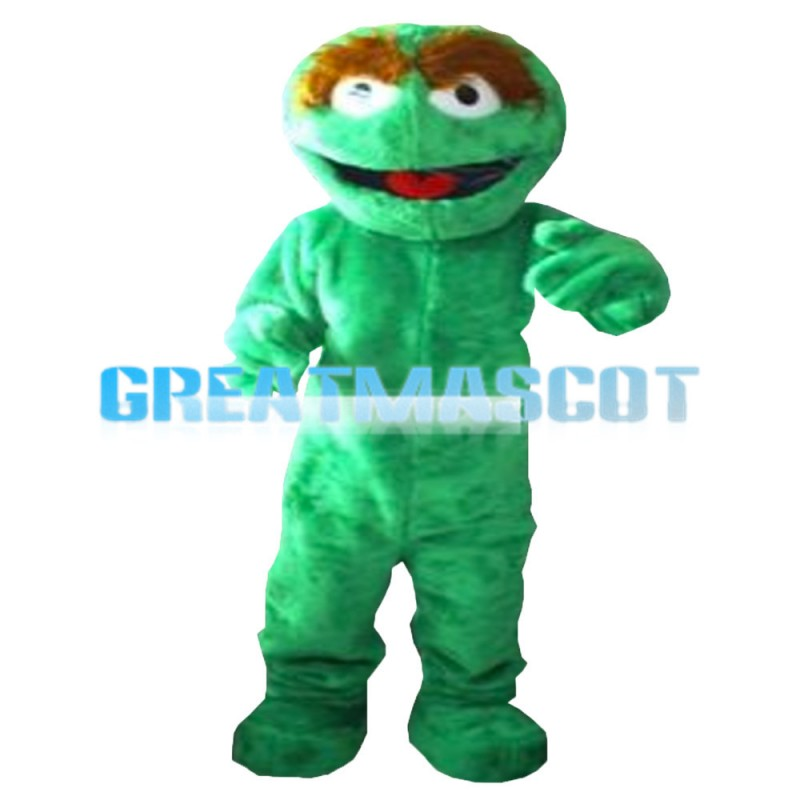 Brown Eyebrow Green Sesame Street Mascot Costume