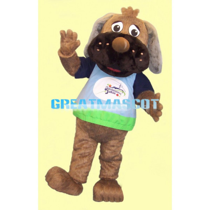 Clumsy Brown Dog Mascot Adult Costume
