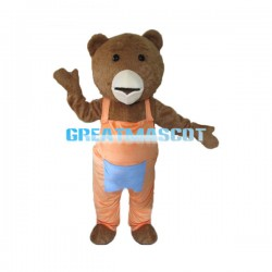 Teddy Bear In Orange Overalls Mascot Adult Costume