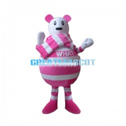 Cartoon Pink Striped Bear Lightweight Mascot Costume For Adult