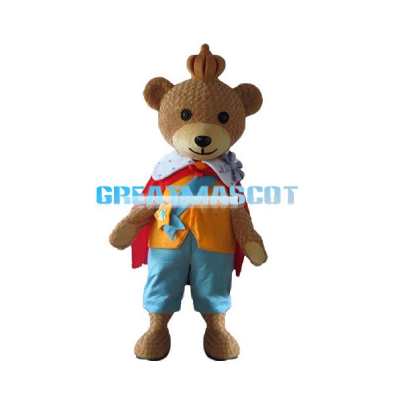 King Teddy Bear Mascot Adult Costume