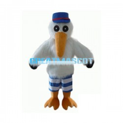Adult Cartoon White Ibis Bird Long Fur Mascot Costume