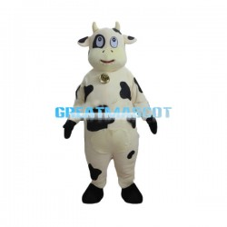 Cute Cartoon Yellow Cow With Bells Mascot Costume