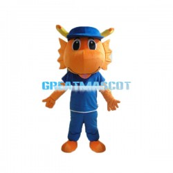 Cute Orange Dragon Cartoon Mascot Costume Adult Size