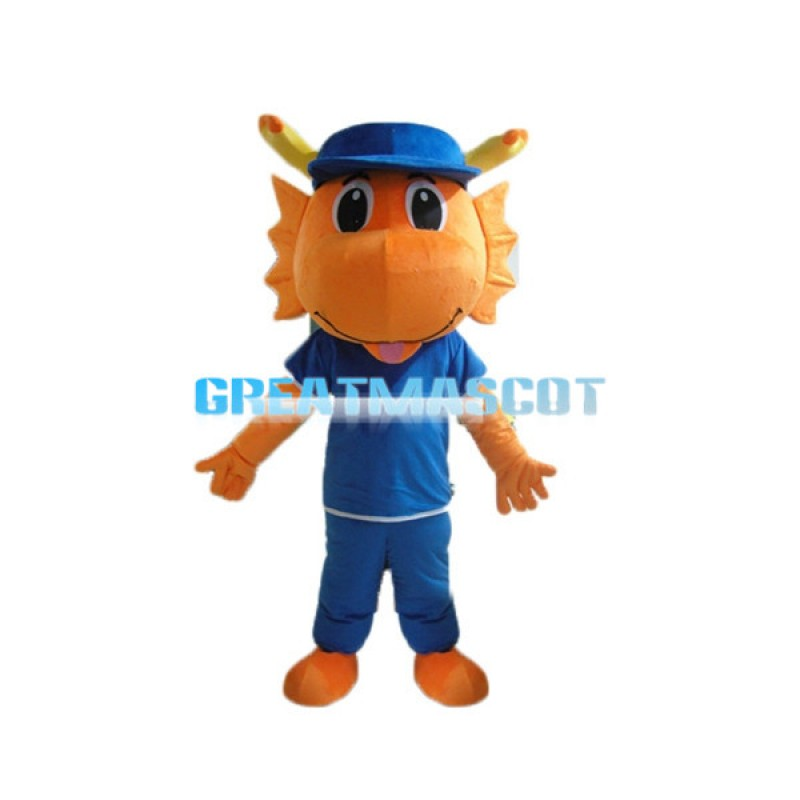 Lovely Cartoon Orange Dragon Mascot Adult Costume