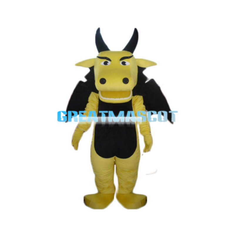 Adult Cartoon Yellow Dragon Mascot Costume