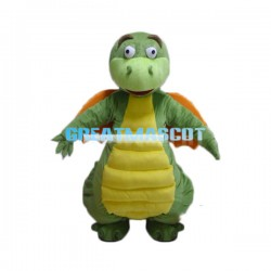 Cute Green Flying Dragon Cartoon Mascot Costume Adult Size