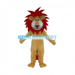 Cartoon Lion With Red Mane Mascot Costume