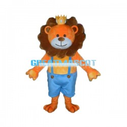 Adult Cartoon King Orange Lion Mascot Costume