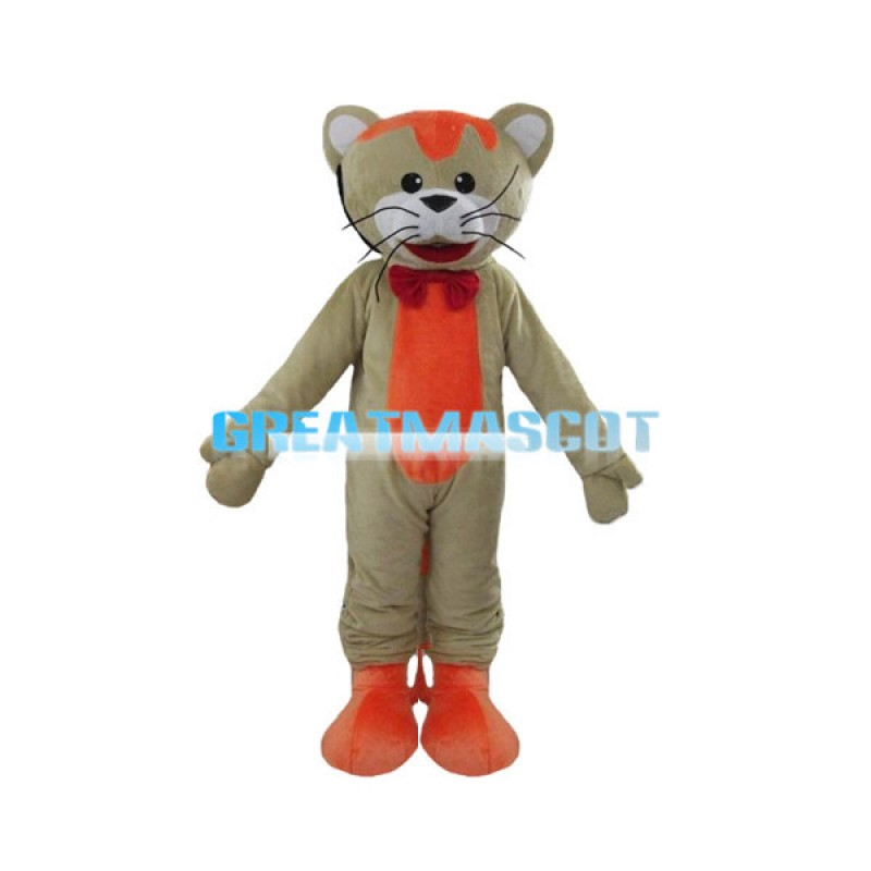 Gray & Orange Cat With Red Bow Tie Mascot Costume