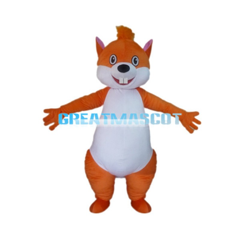 Adult Cartoon Orange Squirrel Mascot Costume