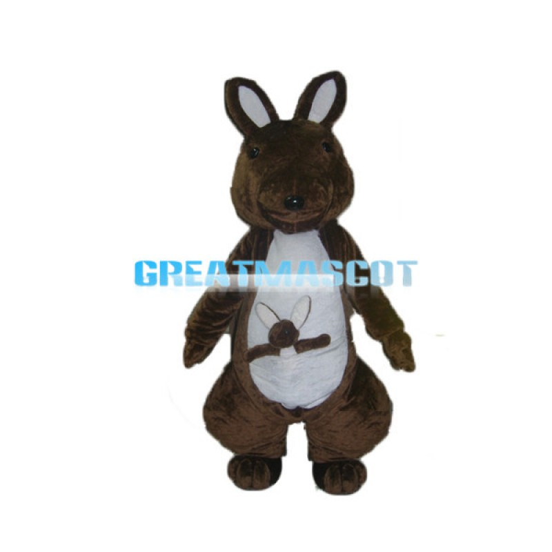 Dark Brown Kangaroo With Kangaroo Cub Mascot Adult Costume