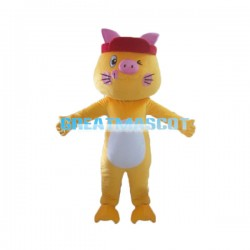Cute Cartoon Yellow Cat Mascot Costume For Adult