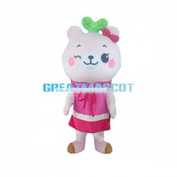 Cute Cartoon Pink Bear Girl Mascot Costume