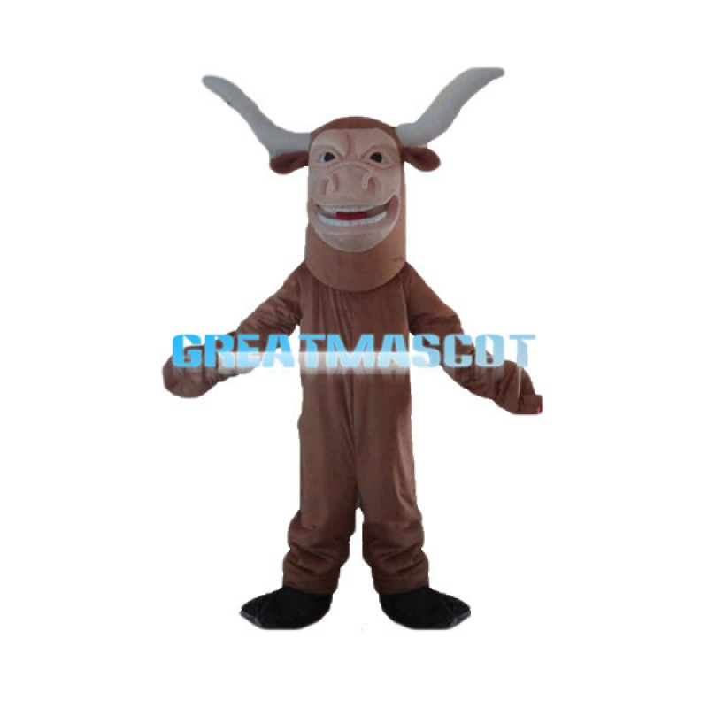 Happy Brown Texas Longhorn Mascot Adult Costume