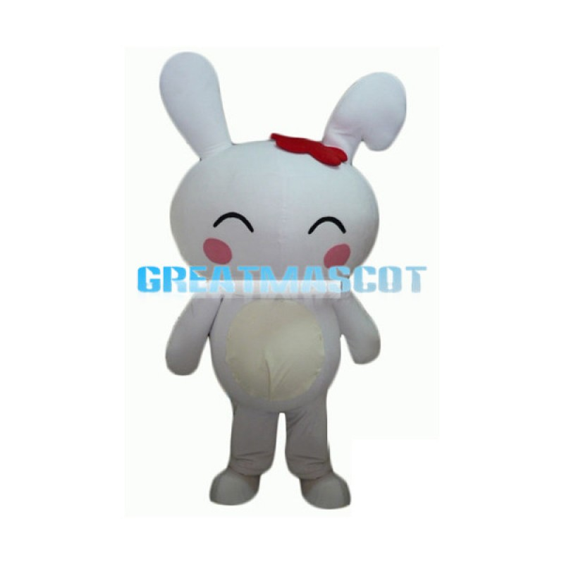 Cute Cartoon White Rabbit With Red Hairpin Mascot Adult Costume