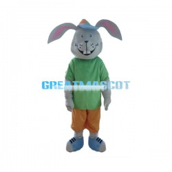 Smiling Cartoon Gray Rabbit Mascot Costume Adult Size