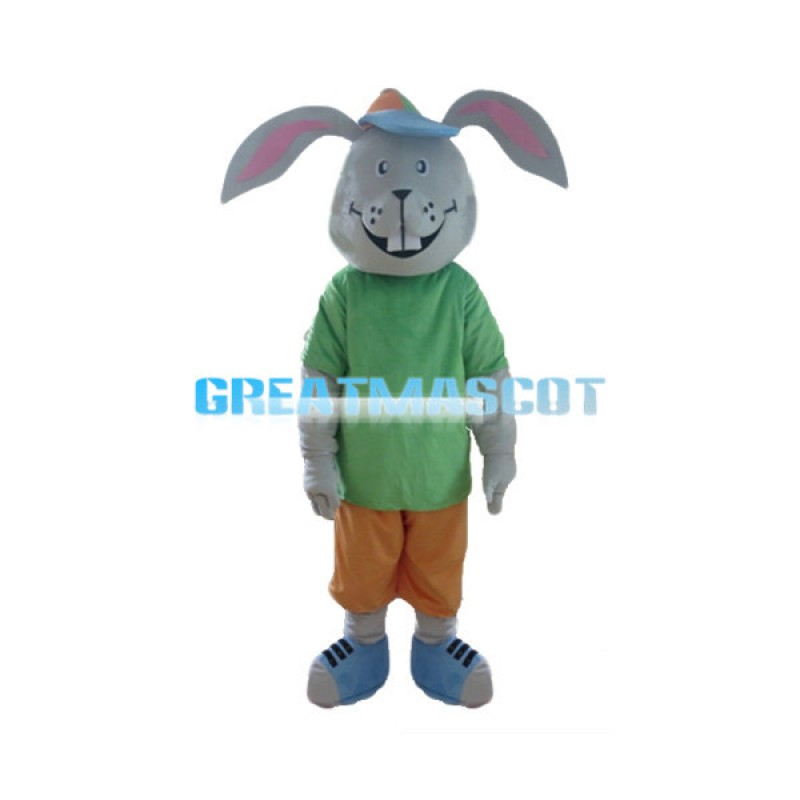 Adult Cartoon Gray Rabbit Mascot Costume