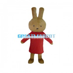 Adult Size Cartoon Brown Bunny In Red Dress Mascot Costume