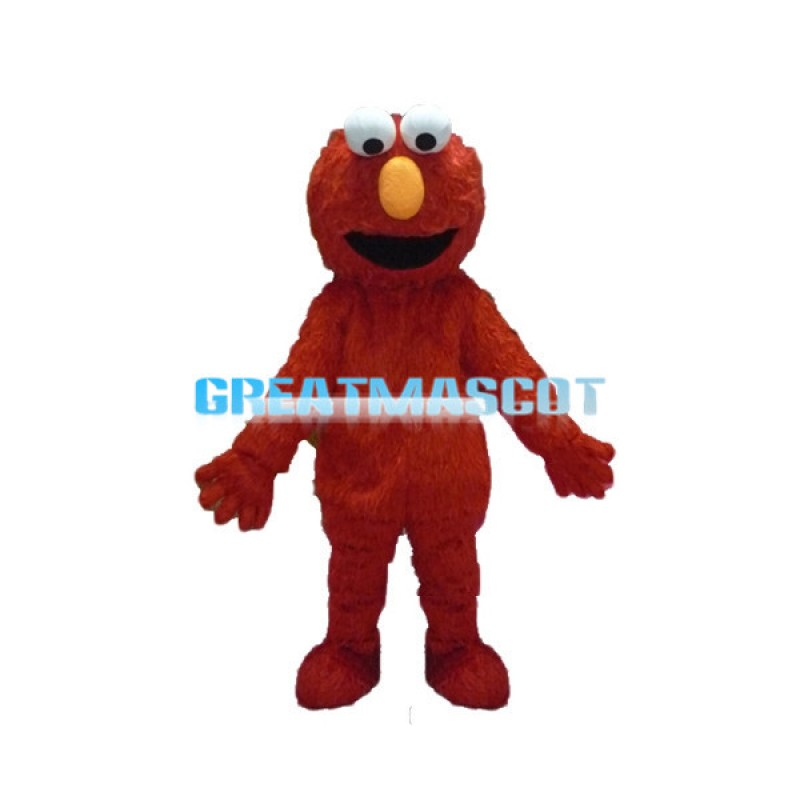 Optimistic Furry Red Monster Elmo Mascot Costume
