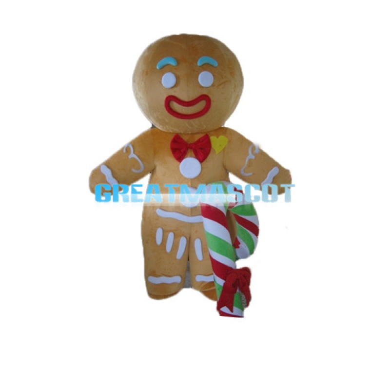 Adult Size Light Brown Gingerbread Man With Candy Cane Mascot Costume