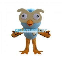 Adult Size Cute Cartoon Blue Owl Mascot Costume