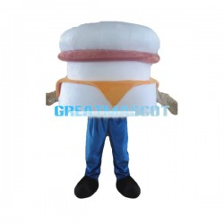 White Burger Lightweight Mascot Adult Costume