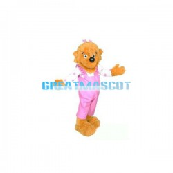 Adult Plush Cute Yellow Dog In Pink Overalls Mascot Costume