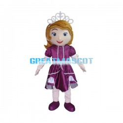 Smiling Princess In Purple Dress Mascot Costume
