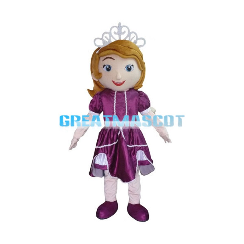 Beautiful Princess Sofia In Purple Dress Mascot Costume