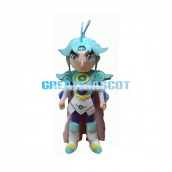 Friendly Blue-haired Superhero Mascot Adult Costume