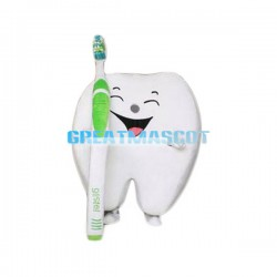 Adult Cartoon Tooth With Toothbrush Lightweight Mascot Costume