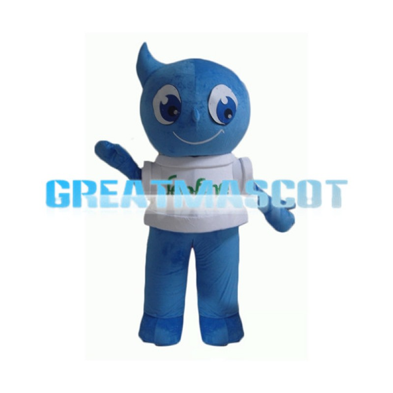 Cartoon Blue Water Drop Man Mascot Adult Costume