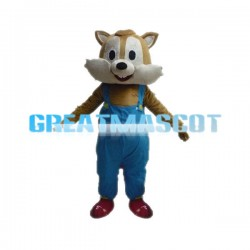 Adult Smiling Squirrel In Overalls Mascot Costume