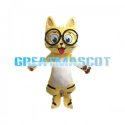 Naughty Yellow Cat With Glasses Mascot Costume