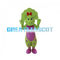Outgoing  Baby Bop the Bright Green Triceratops Mascot Costume
